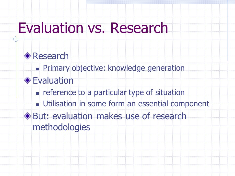 Evaluation vs. Research