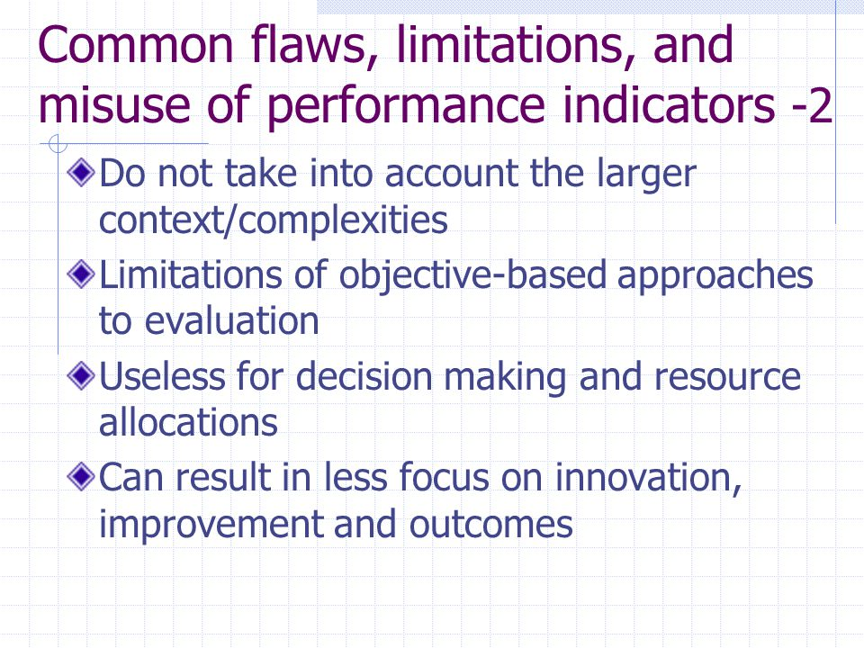 Common flaws, limitations, and misuse of performance indicators -2