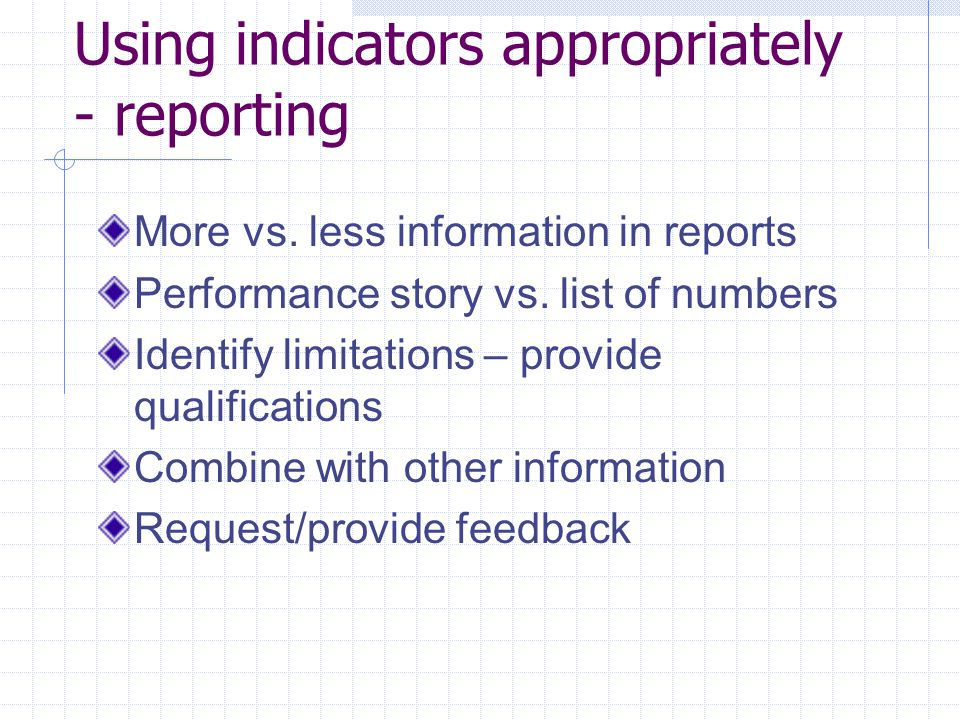 Using indicators appropriately - reporting