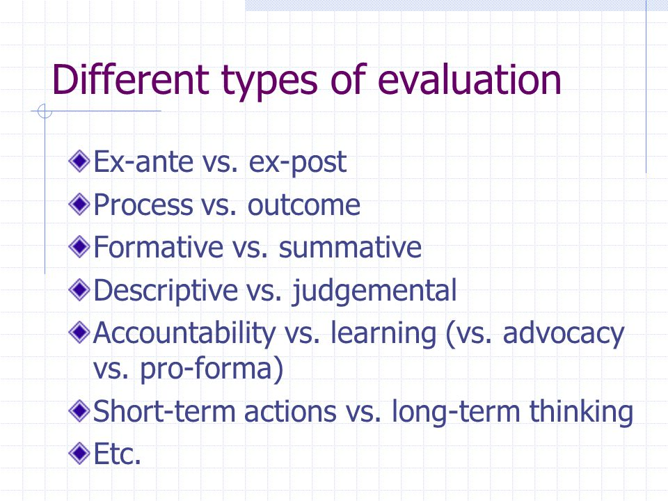 Different types of evaluation