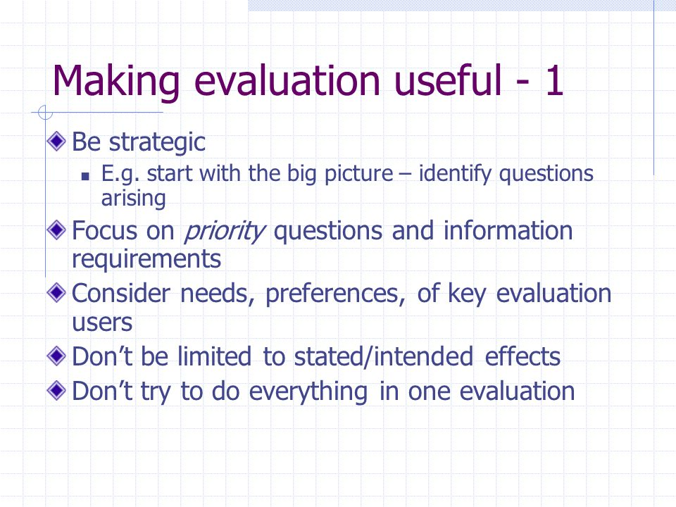 Making evaluation useful - 1