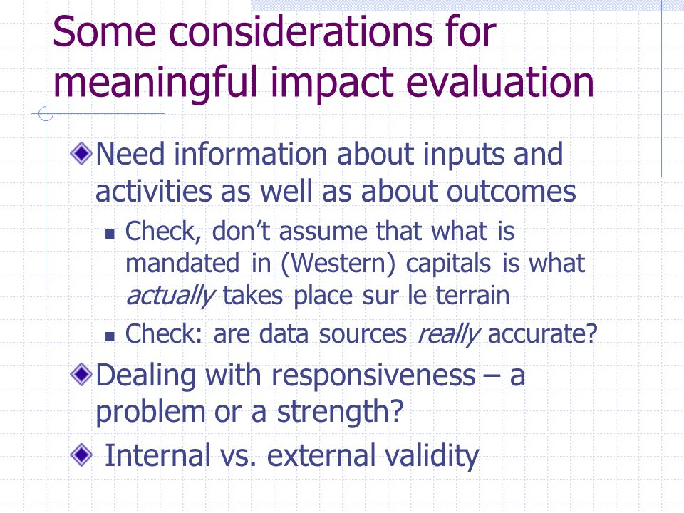 Some considerations for meaningful impact evaluation