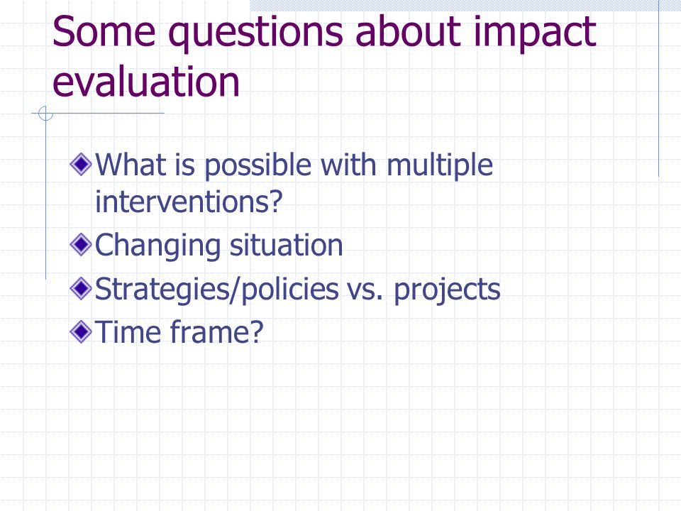 Some questions about impact evaluation