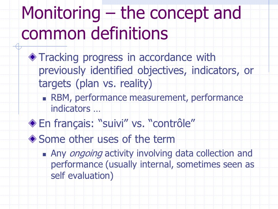 Monitoring – the concept and common definitions