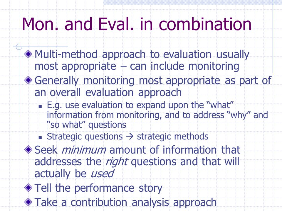 Mon. and Eval. in combination