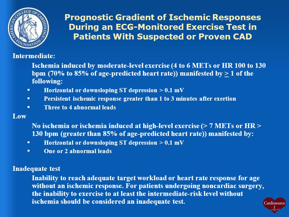 Prognostic Gradient of Ischemic Responses During an ECG-Monitored Exercise Test in Patients With Suspected or Proven CAD
