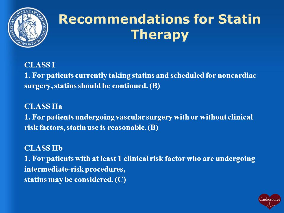 Recommendations for Statin Therapy