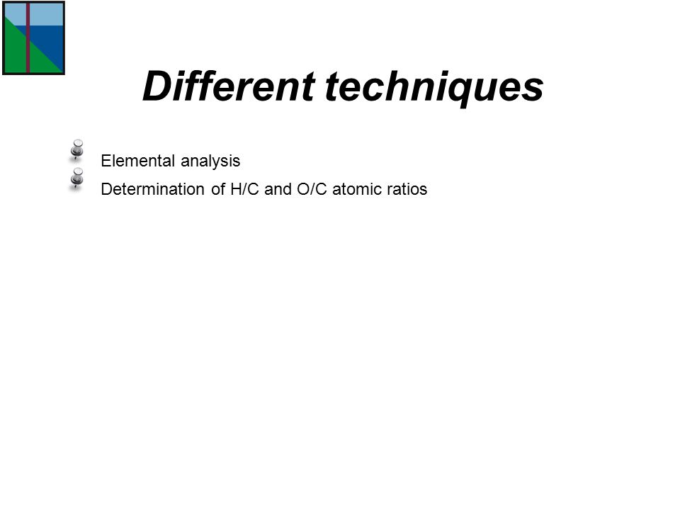 Different techniques Elemental analysis