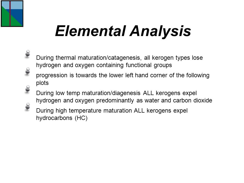 Elemental Analysis During thermal maturation/catagenesis, all kerogen types lose hydrogen and oxygen containing functional groups.