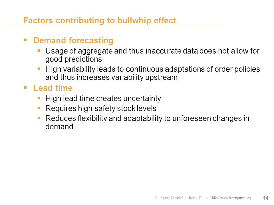 Factors contributing to bullwhip effect
