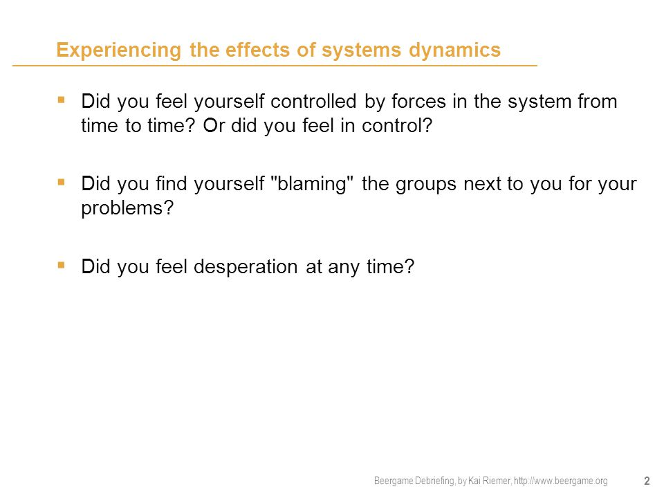 Experiencing the effects of systems dynamics