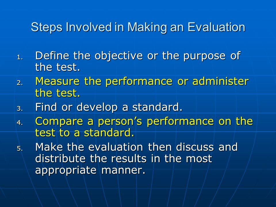 Steps Involved in Making an Evaluation