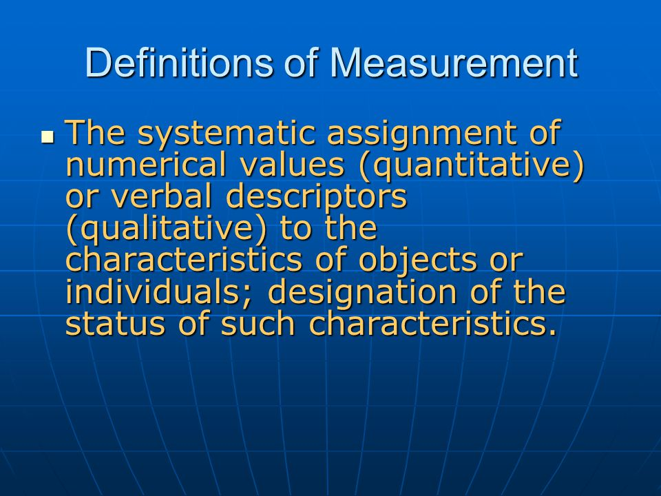 Definitions of Measurement