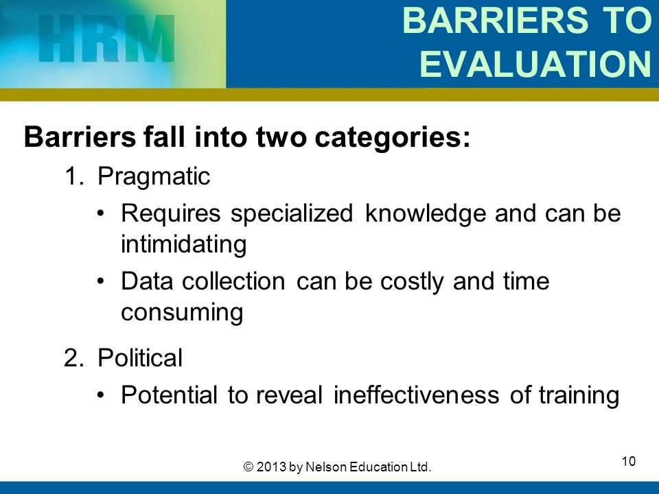BARRIERS TO EVALUATION