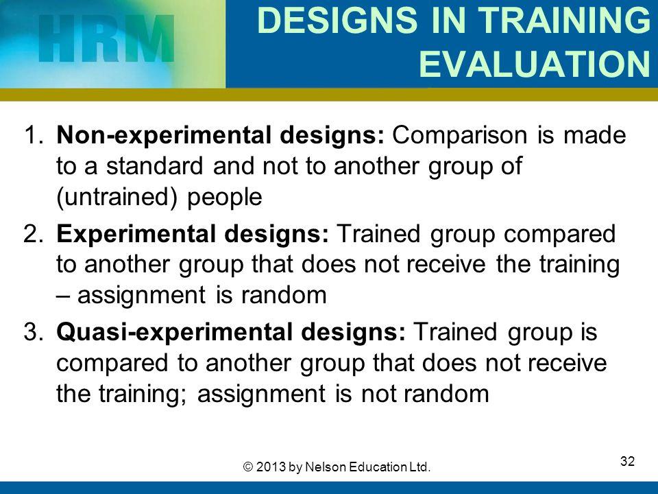 DESIGNS IN TRAINING EVALUATION