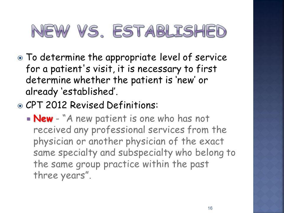 New vs. established