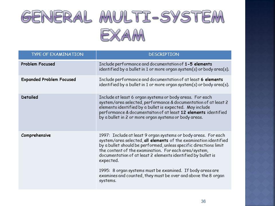 General multi-system exam