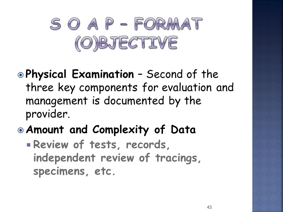 S O A P – Format (O)bjective