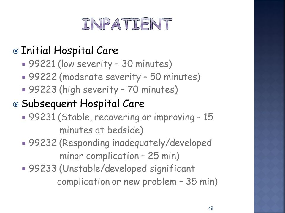 Inpatient Initial Hospital Care Subsequent Hospital Care
