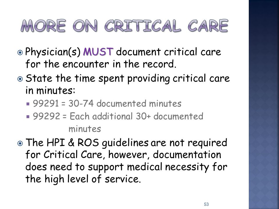More on critical care Physician(s) MUST document critical care for the encounter in the record.