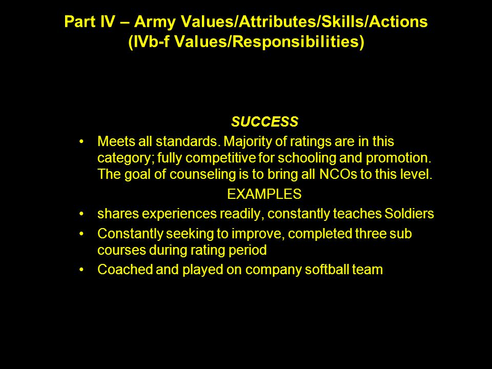Part IV – Army Values/Attributes/Skills/Actions (IVb-f Values/Responsibilities)