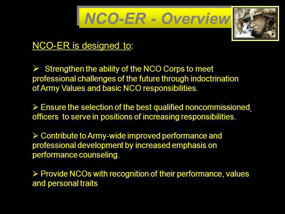 NCO-ER - Overview NCO-ER is designed to: