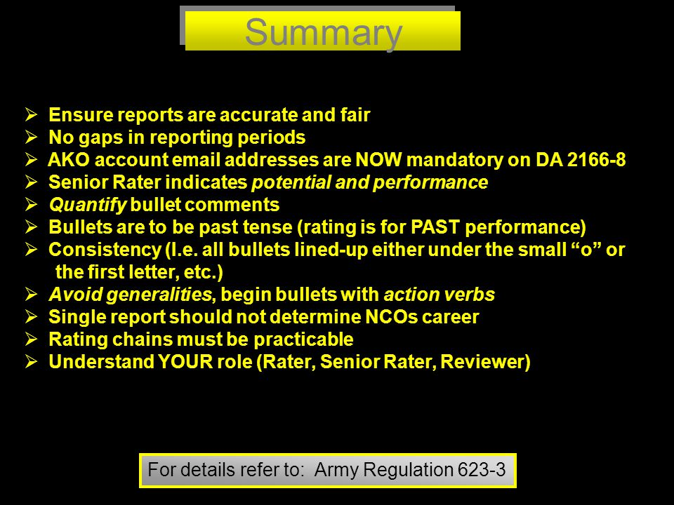 Summary Ensure reports are accurate and fair