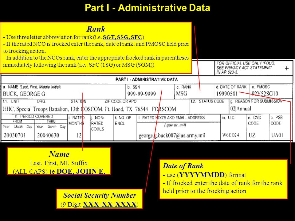 Part I - Administrative Data