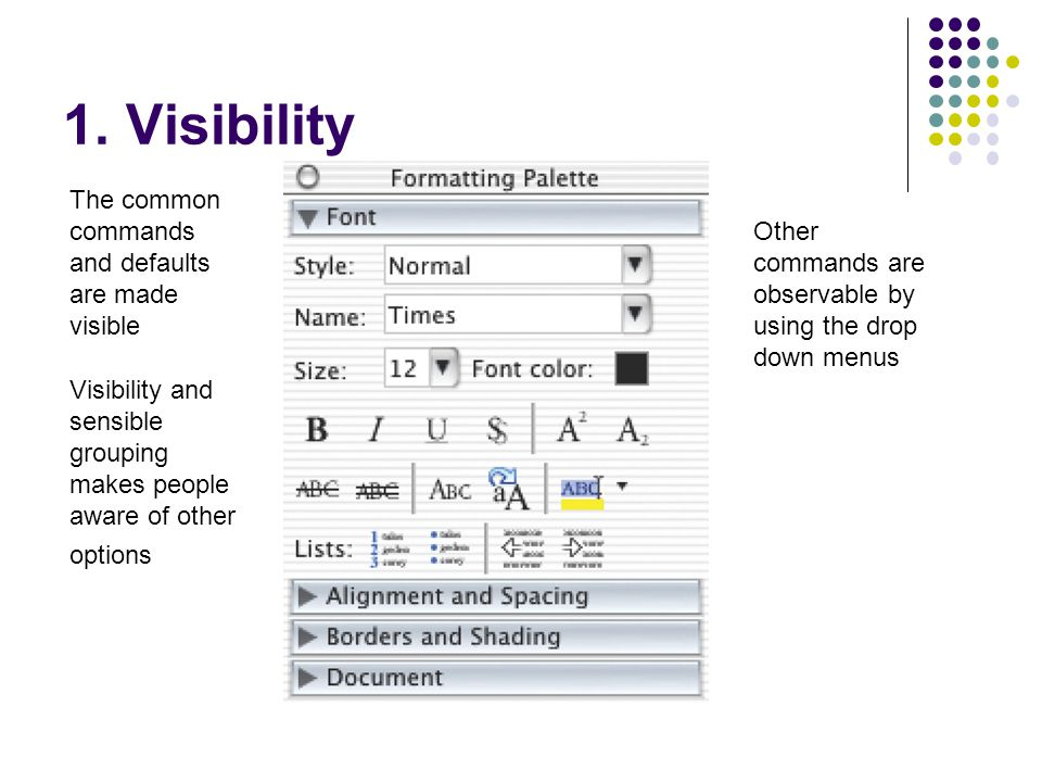 1. Visibility The common commands and defaults are made visible