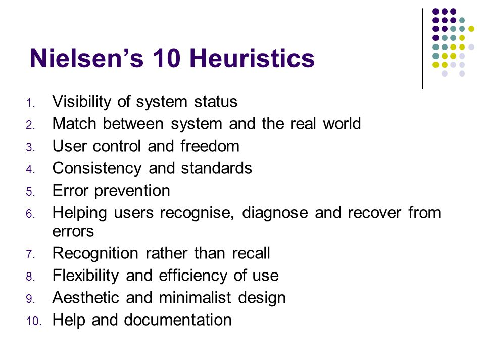 Nielsen's 10 Heuristics Visibility of system status