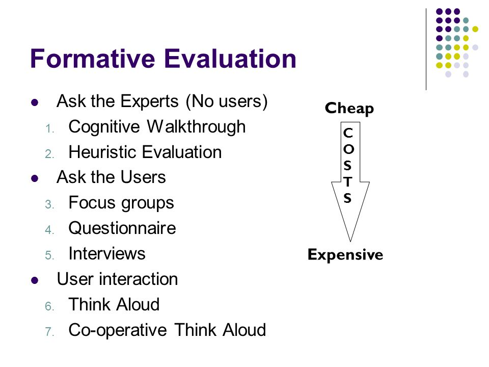 Formative Evaluation Ask the Experts (No users) Cognitive Walkthrough