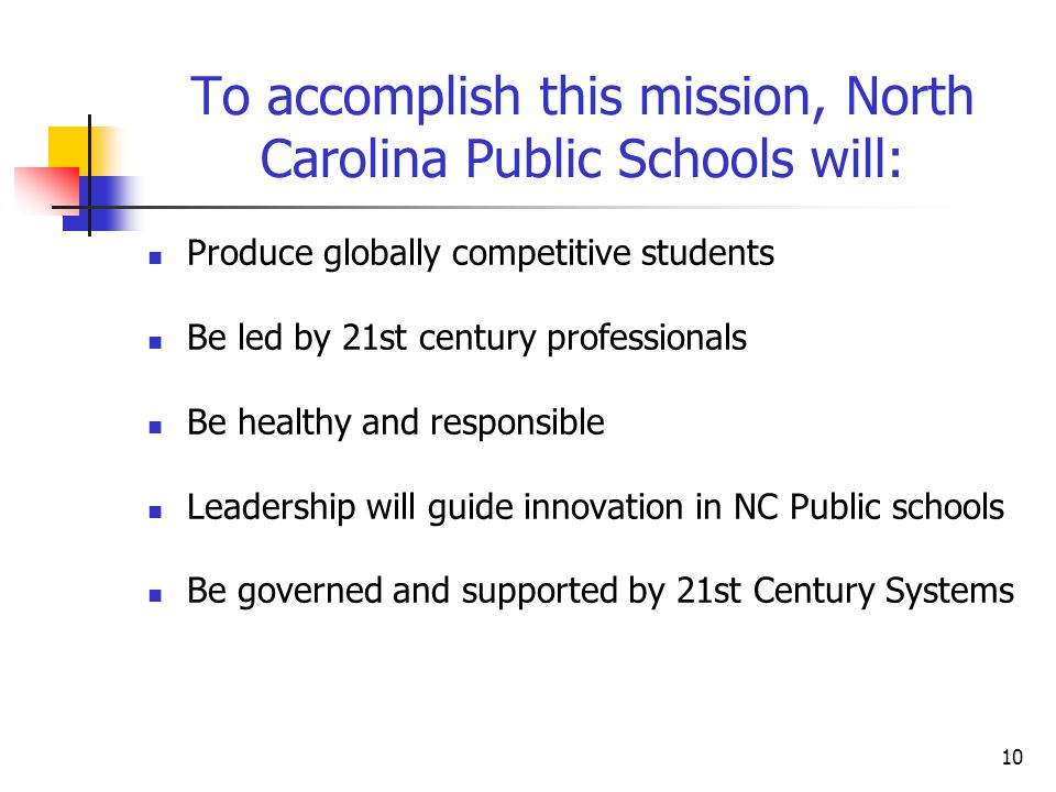 To accomplish this mission, North Carolina Public Schools will: