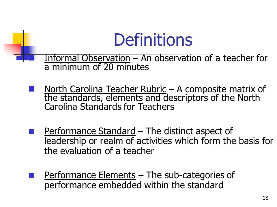 Definitions Informal Observation – An observation of a teacher for a minimum of 20 minutes.