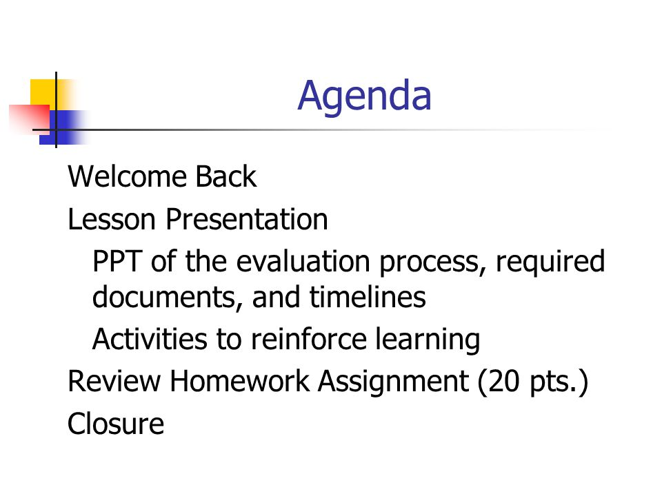 Agenda Welcome Back Lesson Presentation
