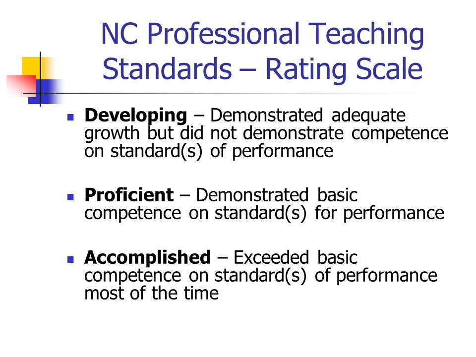 NC Professional Teaching Standards – Rating Scale