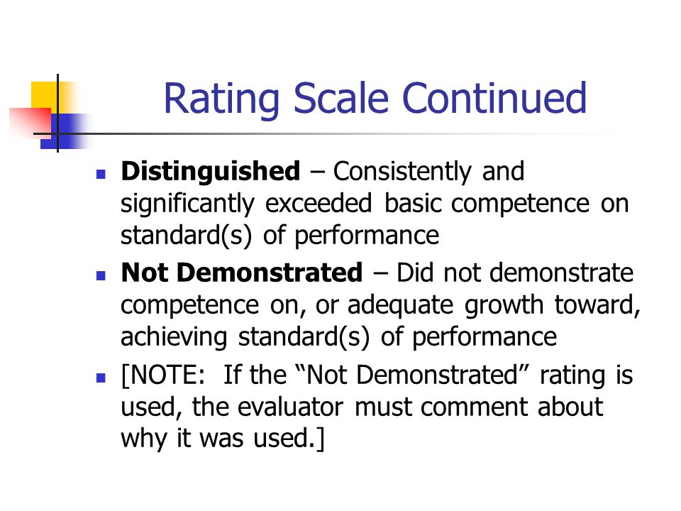 Rating Scale Continued