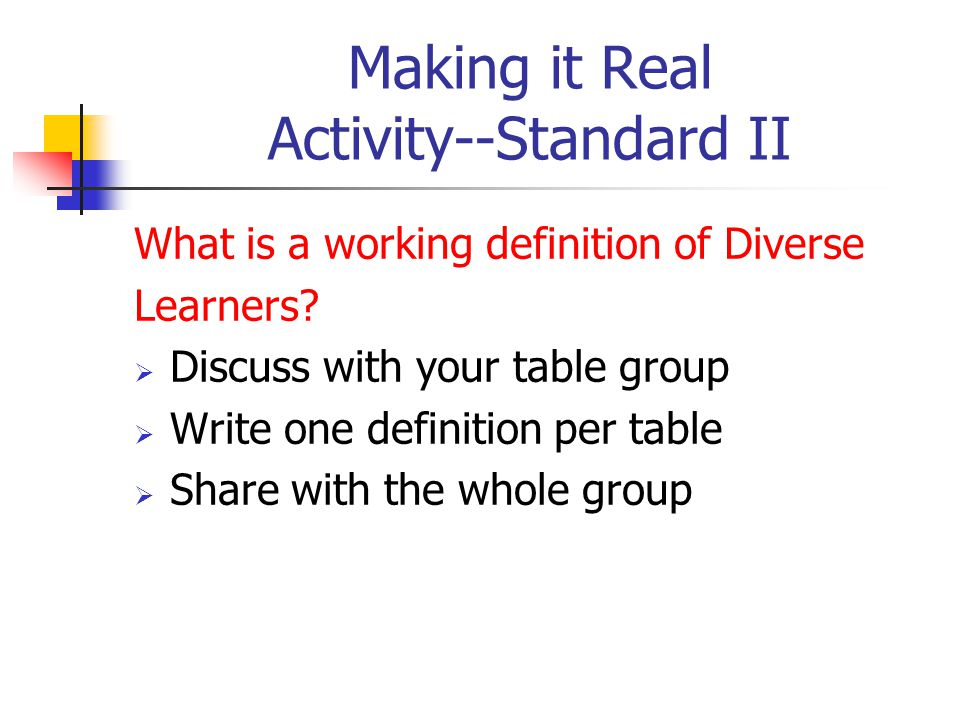 Making it Real Activity--Standard II