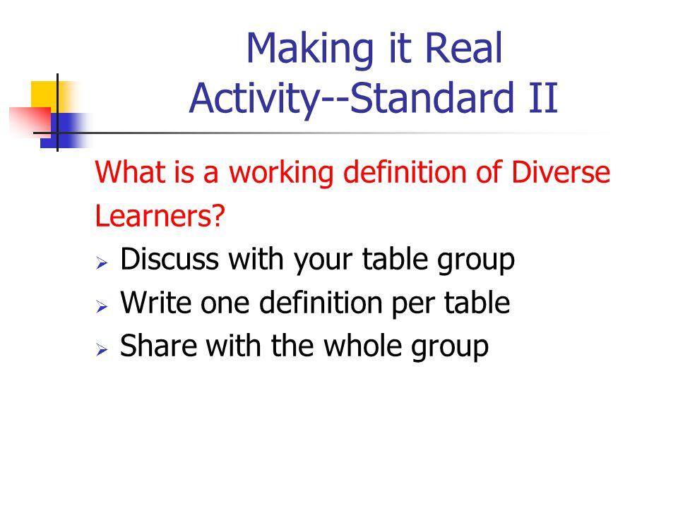Making it Real Activity--Standard II