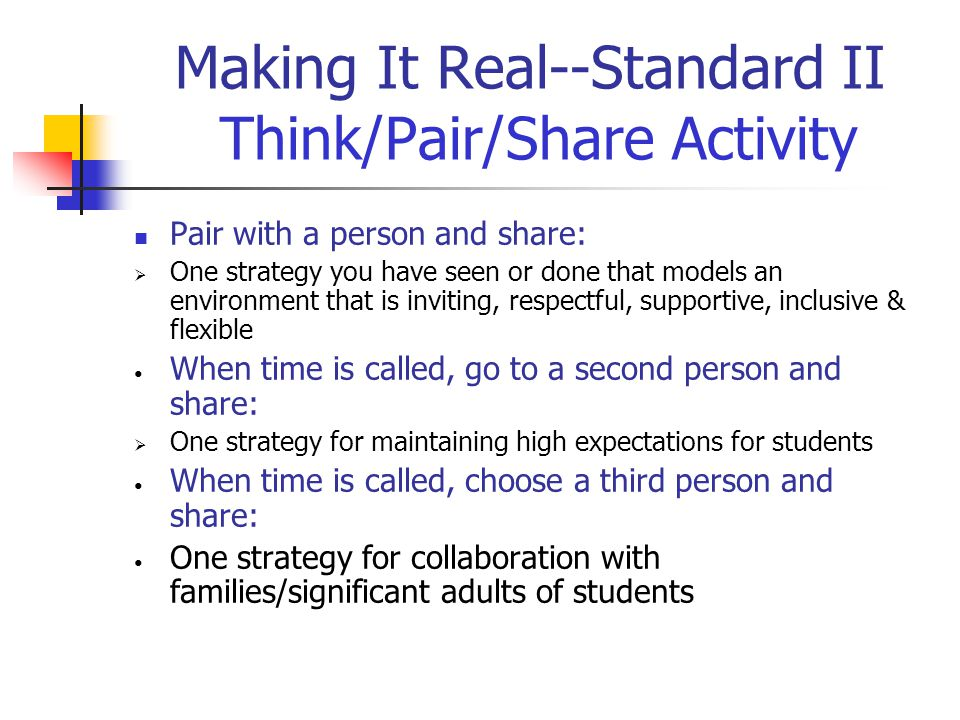 Making It Real--Standard II Think/Pair/Share Activity