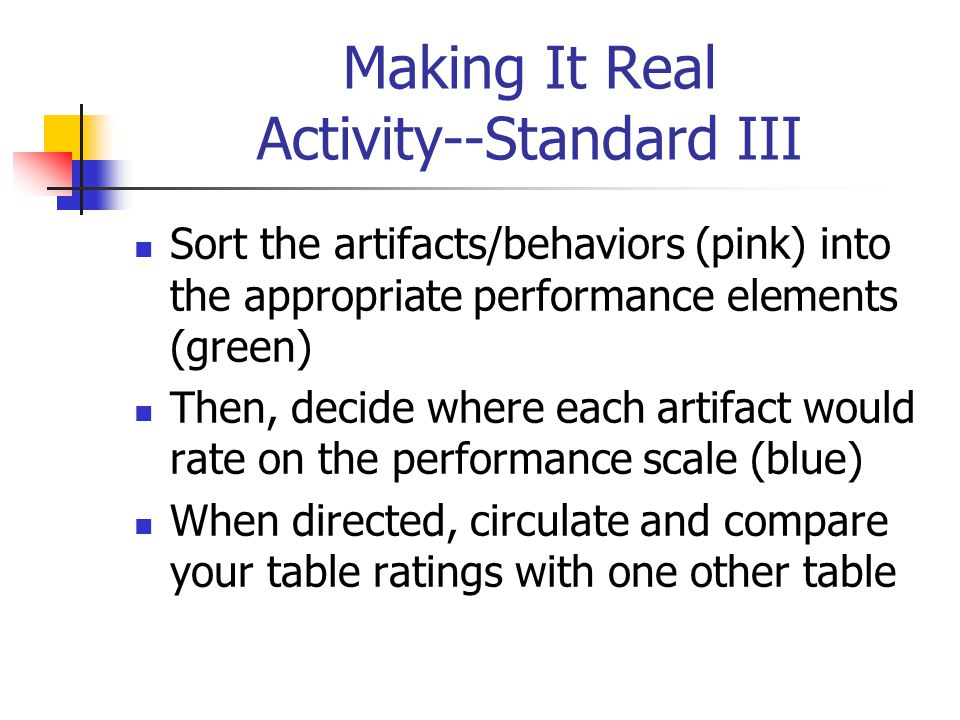 Making It Real Activity--Standard III