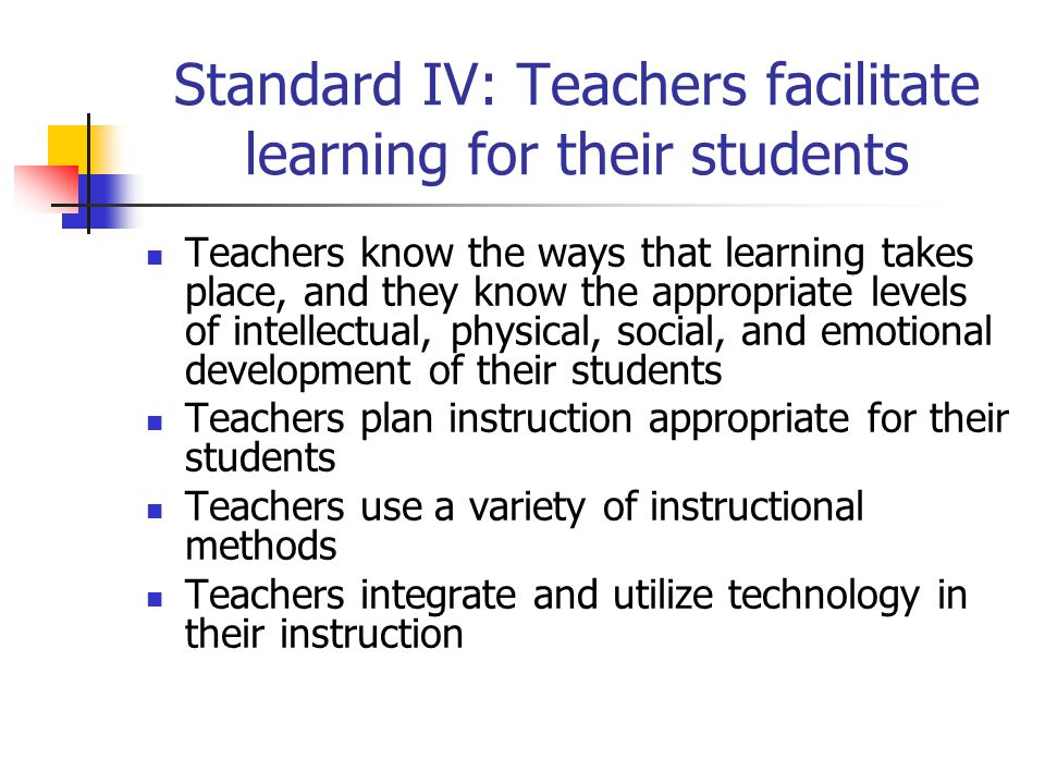 Standard IV: Teachers facilitate learning for their students