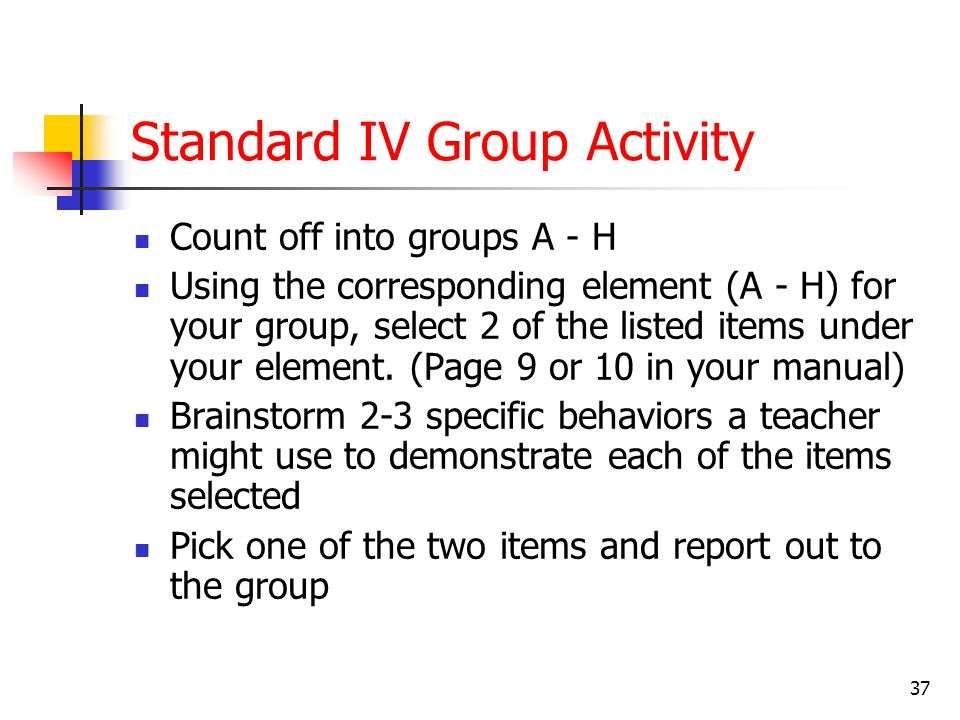 Standard IV Group Activity