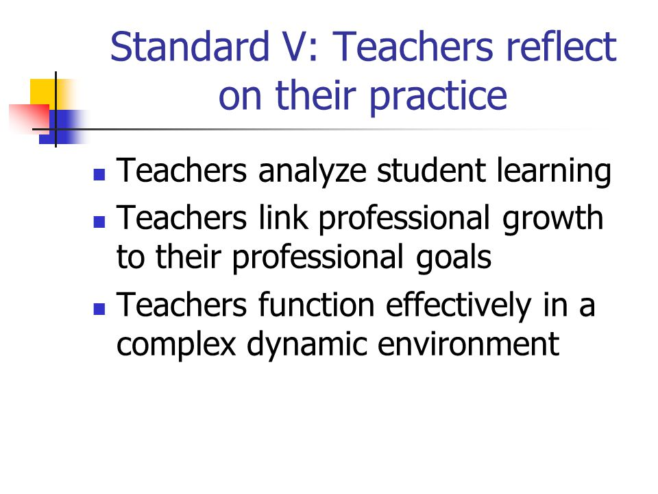 Standard V: Teachers reflect on their practice