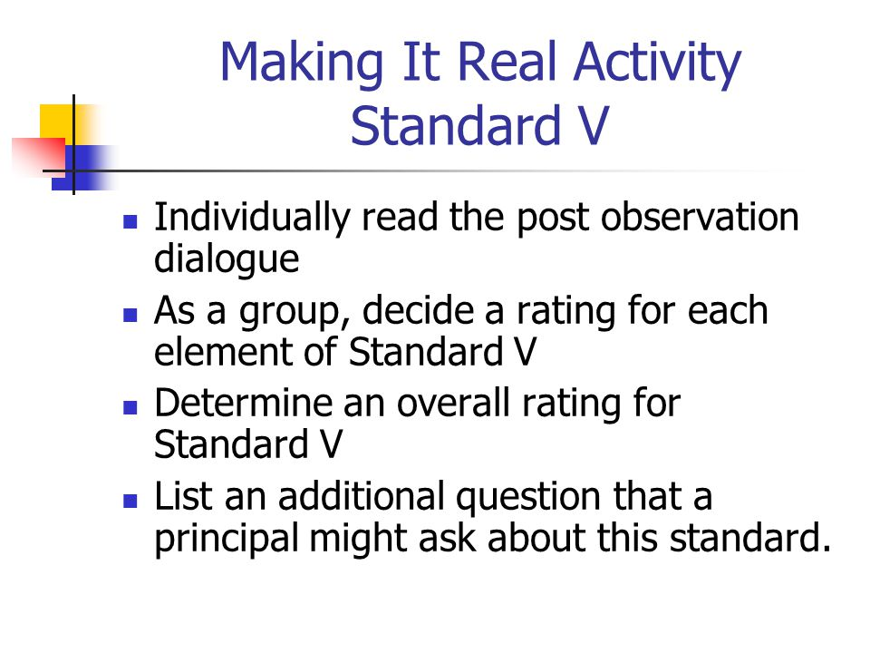 Making It Real Activity Standard V