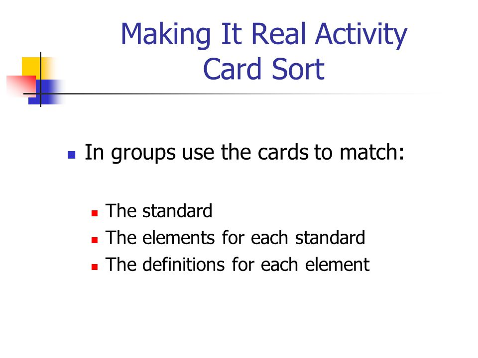 Making It Real Activity Card Sort