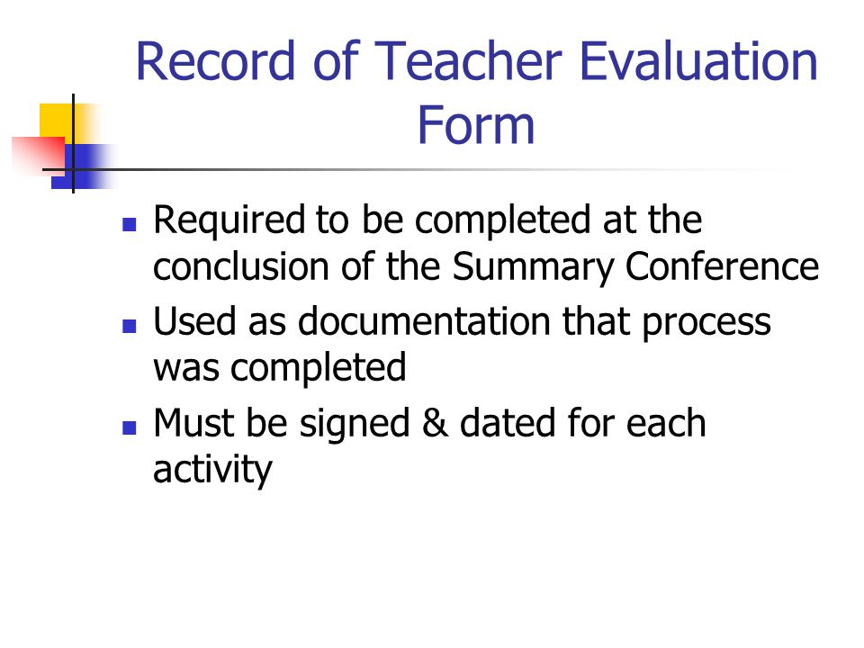 Record of Teacher Evaluation Form