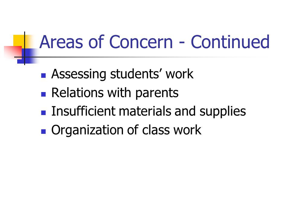 Areas of Concern - Continued