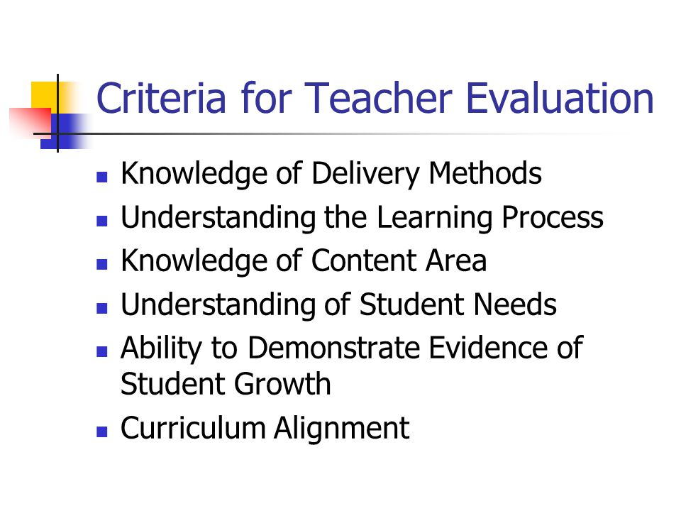 Criteria for Teacher Evaluation