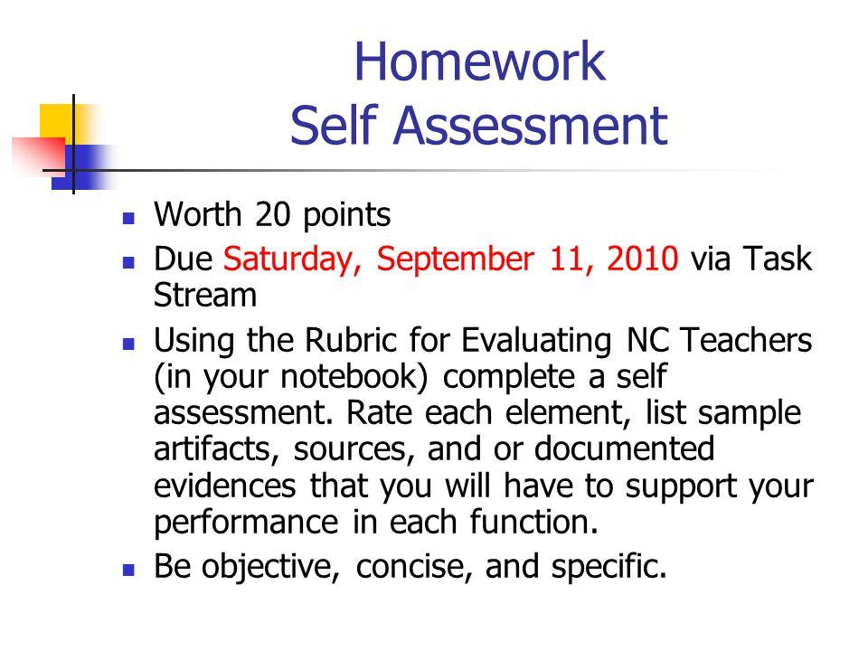 Homework Self Assessment