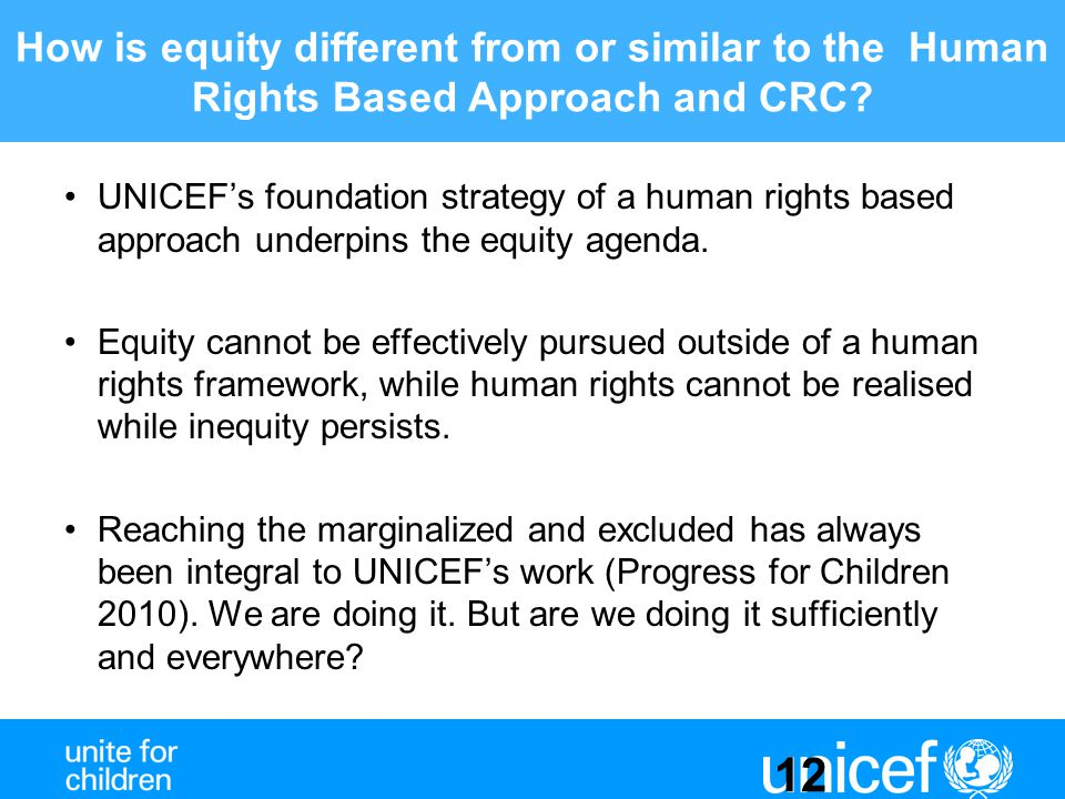 How is equity different from or similar to the Human Rights Based Approach and CRC